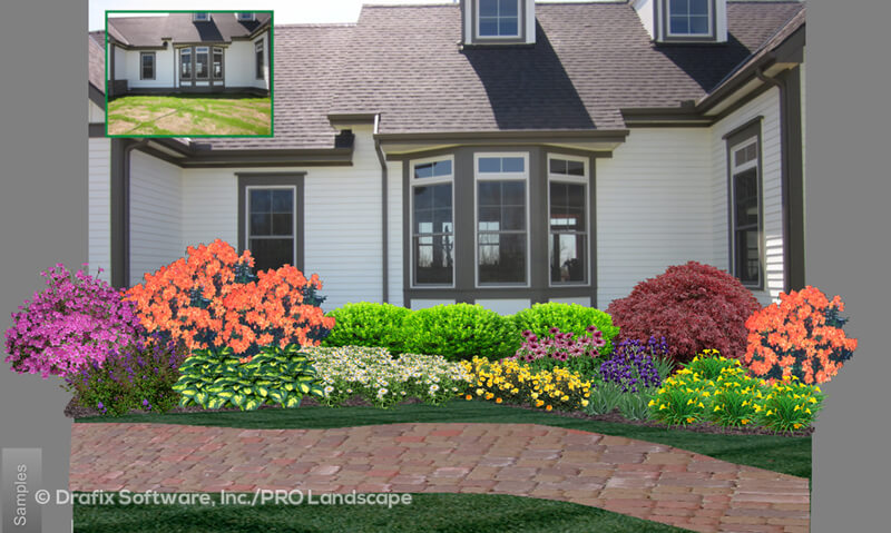 before and after with 3d renderings of garden
